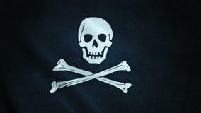 animation 3d de plan rapproché de drapeau de pirate illustration de vecteur