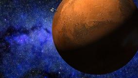 animation 3D de sonde approchant la planète rouge Mars illustration de vecteur