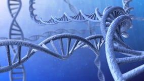 Animation 3d des Drehens von DNA-Strängen geschlungen lizenzfreie abbildung