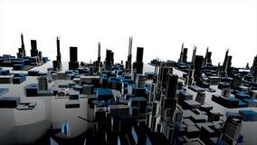 Animation 3D des Gebäudes der wachsenden Stadt und moderner Architekturbau von Stadtbild in der Vogelperspektive und im industrie stock abbildung