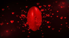 Animation 3d des riesigen romantischen roten Herzens, das größer wachsen und der Explosion in kleines rotes Herzmuster Abstrakter stock footage