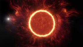 Animation 3D einer entfernten Sonne mit überraschender Atmosphäre stock abbildung