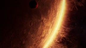 Animation 3D eines ausländischen Planeten mit überraschender Atmosphäre lizenzfreie abbildung