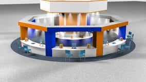 Animation 3D eines Kiosks für Verkäufe an einer achteckigen Messe mit Stühlen für Kunden und Verkäufer auf einem Kreisteppich stock video