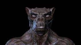 Animation 3D eines verwandelnden Geschöpf-Gesichtes stock video