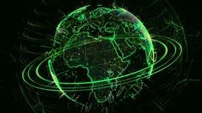 Animation 3d eines wachsenden Netzes über der Welt - braune Version lizenzfreie abbildung