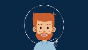 Animation d'homme et de voyage HD illustration stock