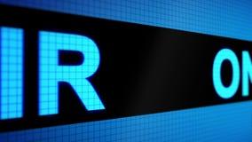 Animation 3d: lebhafter Hintergrund mit laufender Linie mit hellblauem ` Farbe des Textes AUF LUFT ` auf dem Schirm pixel Die Kam stock abbildung