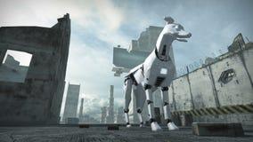 Animation d'un chien de robot dans la ville ruinée rendu 3d banque de vidéos