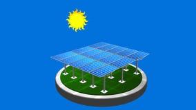 animation 3D d'un groupe de panneaux solaires suivant le chemin du soleil avec le fond bleu banque de vidéos