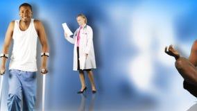 Animation d'un jeune homme dans l'hôpital et récupéré. Concept de rétablissement banque de vidéos