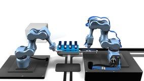 animation 3D d'un laboratoire automatisé avec deux bras mécaniques prélevant des échantillons provenant d'un plateau des tubes à  banque de vidéos