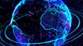 animation 3d d'un réseau croissant à travers le monde - version bleue banque de vidéos
