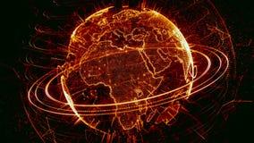 animation 3d d'un réseau croissant à travers le monde - version brune banque de vidéos