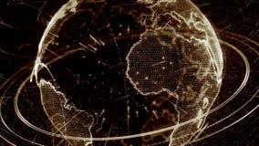 animation 3d d'un réseau croissant à travers le monde - version brune clips vidéos