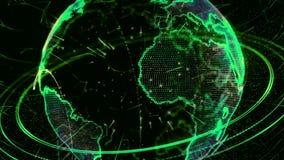 animation 3d d'un réseau croissant à travers le monde - version verte banque de vidéos