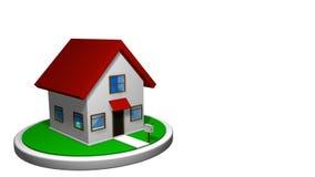 animation 3D d'une petite maison avec un toit rouge sur un disque blanc, avec une boîte aux lettres dans l'avant La maison tourne clips vidéos