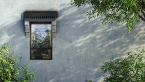 Animation 3d von den grünen Blättern, die oben durch Fensterabschluß fliegen vektor abbildung