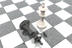 Animation 3d: Zwei Schachzahlen auf dem Spielfeld Weißer König ist ein Sieger und Lügen eines Verliererschwarzen werfen sich an s Stockbild