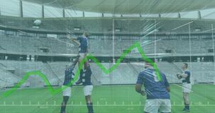 Animation of data floating in frames and graph forming over two multi-ethnic rugby teams playing rug