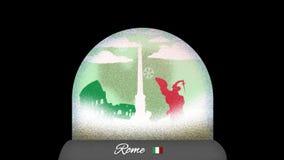 Animation de bande dessinée de globe de neige de Rome dans la boucle sans couture illustration libre de droits