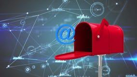 Animation de boîte de lettre avec au symbole et les connexions de données de signe illustration libre de droits