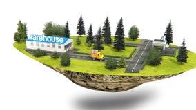Animation de camion de transport d'entrepôt au client