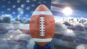 Animation de Digital de boule de rugby et de drapeau américain de balancement banque de vidéos