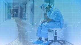 Animation de Digital du médecin soumis à une contrainte s'asseyant dans le couloir d'hôpital banque de vidéos