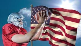Animation de Digital de joueur de rugby jouant avec la boule de rugby contre le drapeau américain clips vidéos