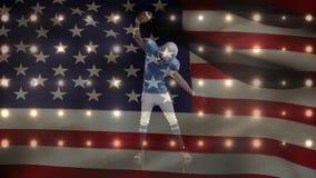 Animation de Digital de joueur victorieux de rugby avec des mains augmentées contre le drapeau américain clips vidéos
