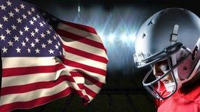 Animation de Digital de la position de joueur de rugby vis-à-vis le drapeau américain banque de vidéos