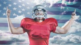 Animation de Digital de la réjouissance américaine victorieuse de joueur de rugby clips vidéos