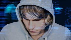 Animation de Digital de pirate informatique et de codes de programmation numériques banque de vidéos
