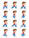 Animation de garçon courant, douze cadres Photos libres de droits