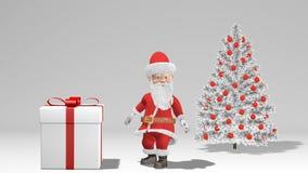 Animation 2019 de Joyeux Noël et de bonne année Santa Claus avec un cadeau de Noël près de l'arbre de Noël illustration stock