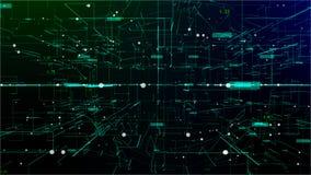 Animation de l'espace numérique avec le nuage de maille des connexions illustration stock