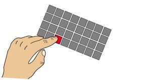 Animation de la main appuyant sur le bouton rouge, vidéo avec le canal alpha inclus illustration de vecteur