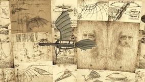 Animation de Leonardo Da Vinci Antique Flying Machine illustration stock