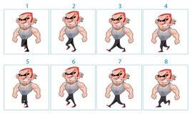 Animation de marche d'un caractère fâché de bande dessinée dans 8 cadres dans le lo Photo libre de droits