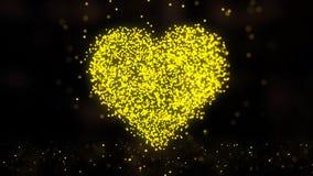Animation de réseau de plexus de symbole de coeur sur le fond coloré avec l'écoulement des particules de plexus Boucle sans coutu Image stock