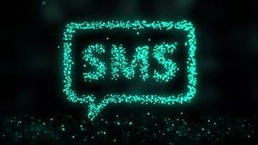 Animation de r?seau de plexus de symbole de sms sur le fond color? avec l'?coulement des particules de plexus Signe de Sms seamle clips vidéos