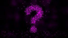Animation de r?seau de plexus de symbole de question sur le fond color? avec l'?coulement des particules de plexus Point d'interr banque de vidéos