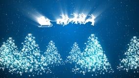 Animation de Santa Claus et du renne volant au-dessus des arbres et de la neige illustration de vecteur