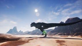 Animation de T Rex Tyrannosaur Dinosaur dans le désert Réaliste rendez rendu 3d illustration de vecteur