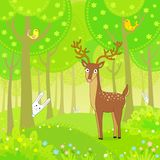 Animation deer in the wood plays at hide-and-seek with rabbits Stock Photo