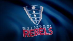 Animation der Flagge mit Symbol des Rugbys Melbourne lehnt sich auf Redaktionelle Animation stock abbildung