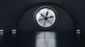 Animation der konkreten Garage mit drehender Lüftungsanlage stock abbildung