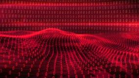 Animation der redbinary Wellen gegen Stellen 0 1 stock footage