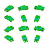 Animation der Rotation des Autos in der isometrischen Ansicht Lizenzfreie Abbildung